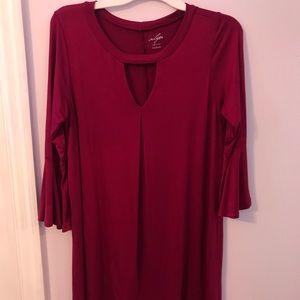 Bell Sleeved Burgundy Dress